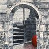 Rote kugel, Ruine, Ölmalerei, Burg