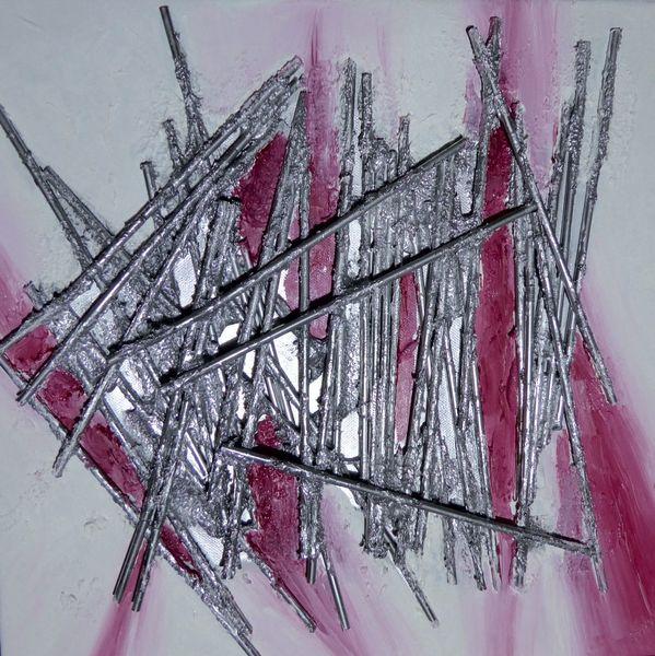 Silber, Nagel, Rot schwarz, Acrylmalerei, Trinkhalm, Malerei