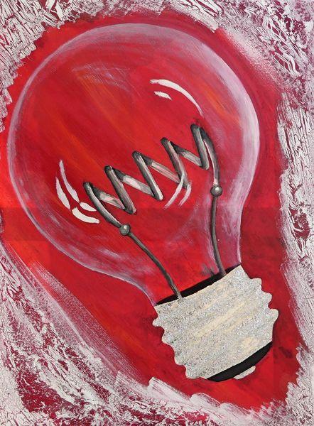 Rot schwarz, Glühwendel, Fassung, Elektrisches licht, Ölmalerei, Malerei