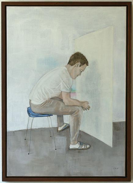 Figur, Wand, Sitzender mann, Stuhl, Augenblick, Schichtung