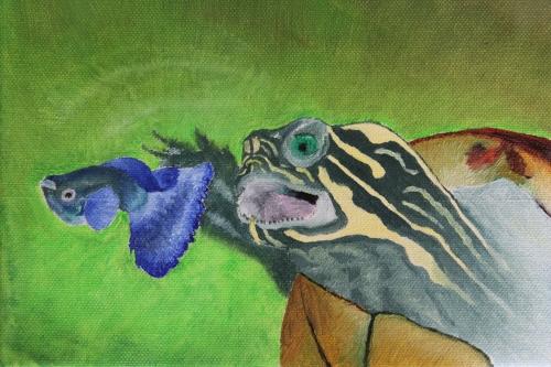 Schildkröte, Guppy, Ölmalerei, Tiere, Malerei, Wasser