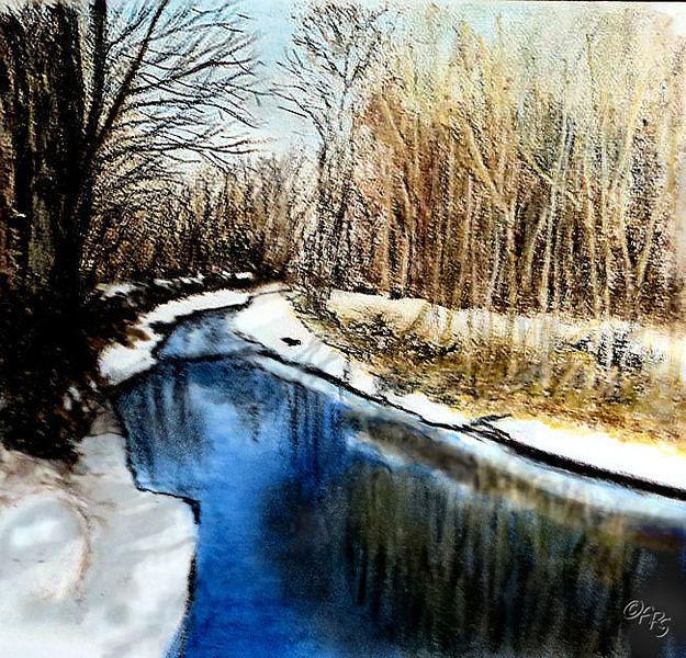 Winter, Eis, Bach, Schnee, Malerei