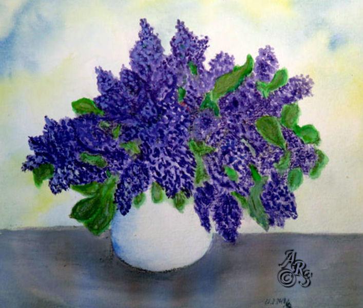Vase, Flieder, Aquarellmalerei, Aquarell