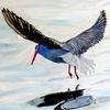 Vogel, Wasser, Fliegen, Aquarell