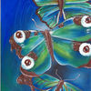 Acrylmalerei, Grün, Blau, Wasser