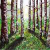 Gemälde, Wald, Abstrakt, Grün