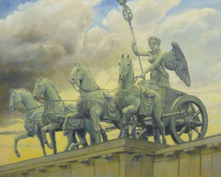 Himmel, Bronze, Abendstimmung, Berlin, Wagen, Brandenburger tor