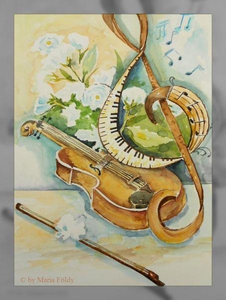 Musik, Blumen, Grün, Aquarellmalerei, Konzert, Violine