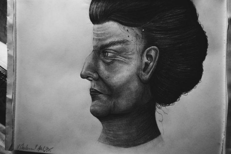 2015, Bleistiftzeichnung, Alt, Frau, Zeichnung, Zeichnungen