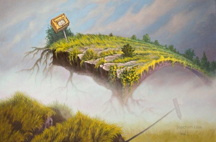 Fantasie, Briefkasten, Surreal, Postweg, Ölmalerei, Malerei