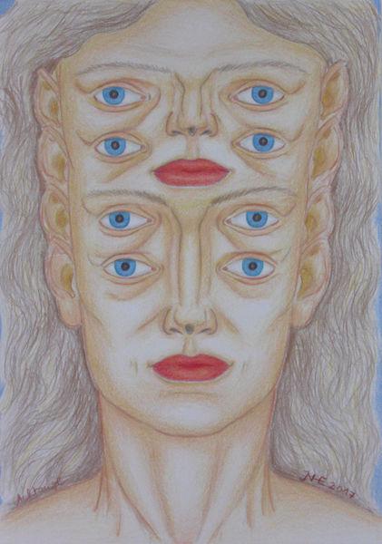 Symbolismus, Menschen, Zeichnung, Polychromos, Mythologie, Augen