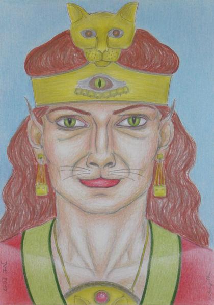 Mythologie, Katzenkönigin, Symbolismus, Zeichnung, Polychromos, Zeichnungen