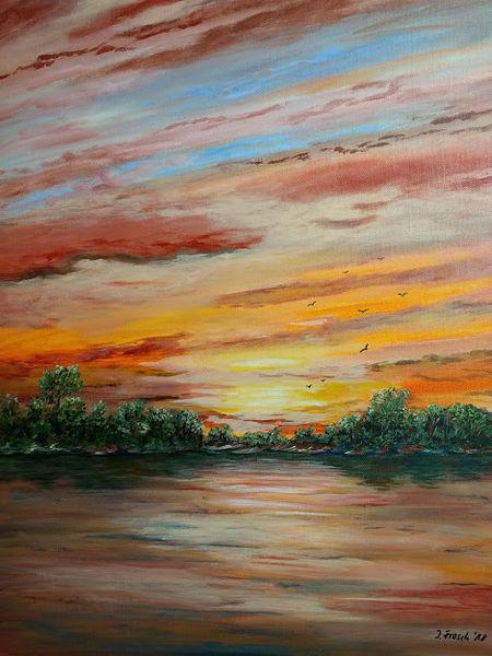 Himmel, Wolken, Baum, Malerei, See, Abend