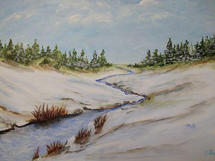 Baum, Bach, Winter, Wald, Malerei