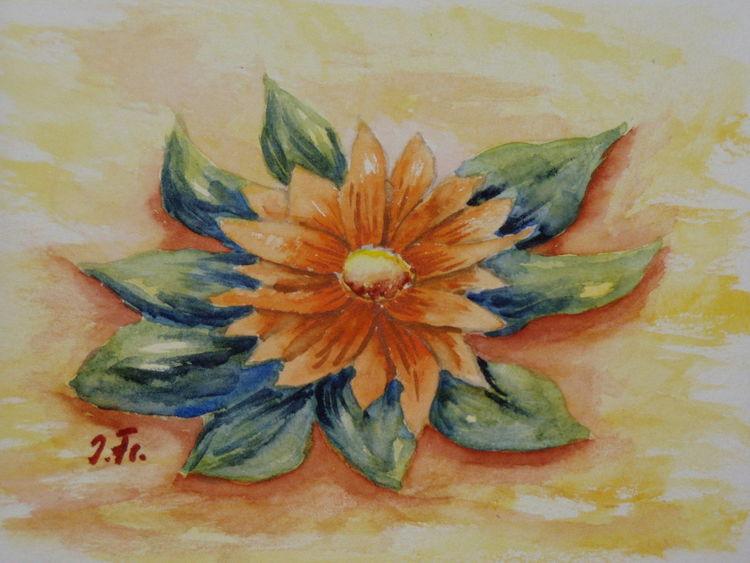 Blätter, Orange, Blüte, Grün, Blumen, Malerei
