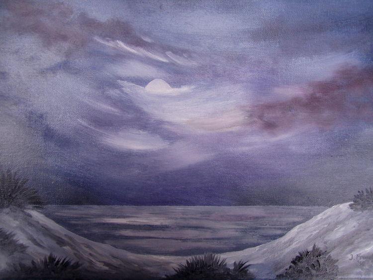 Dünen, Meer, Nacht, Malerei