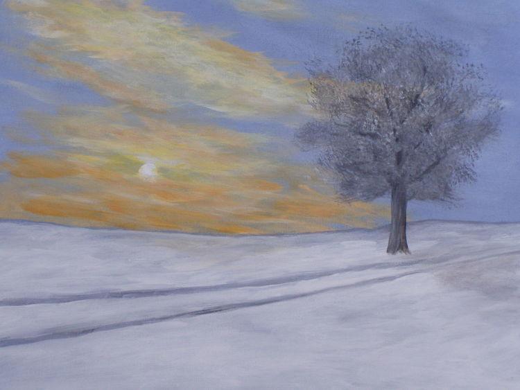 Baum, Himmel, Wolken, Winterabend, Malerei, Wintersonne