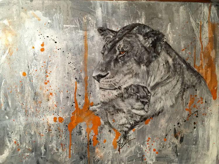 Jung, Löwe, Wildtiere, Afrika, Malerei