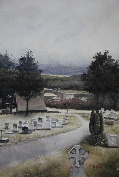 Berge, Friedhof, Häuser, Himmel, Gräber, Perspektive