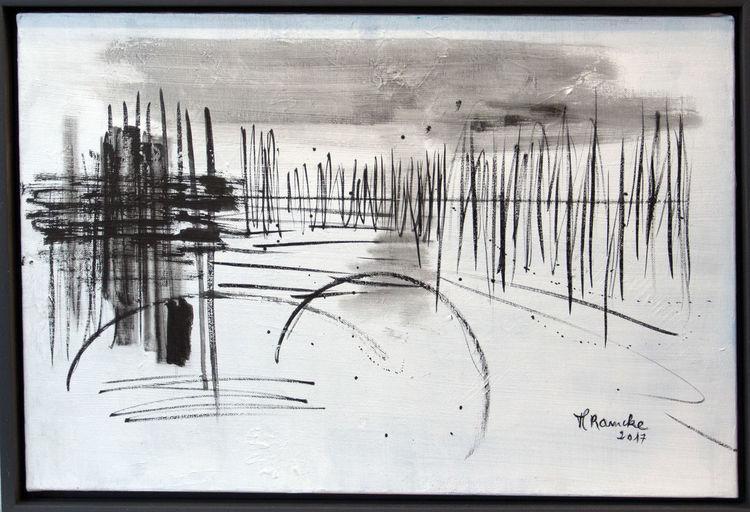 Abstrakt, Acrylmalerei, Weiß, Tusche, Grau, Malerei