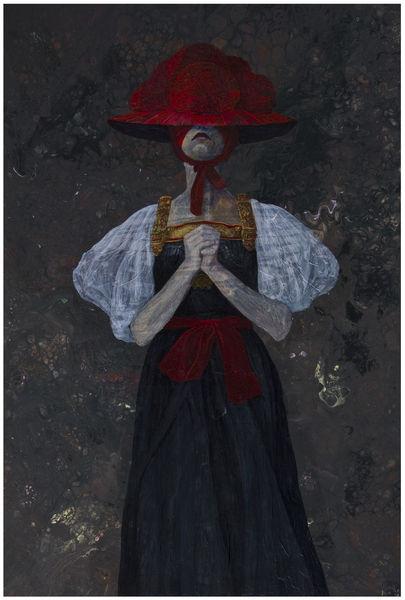 Acrylmalerei, Tracht, Portrait, Dunkel, Figural, Düster