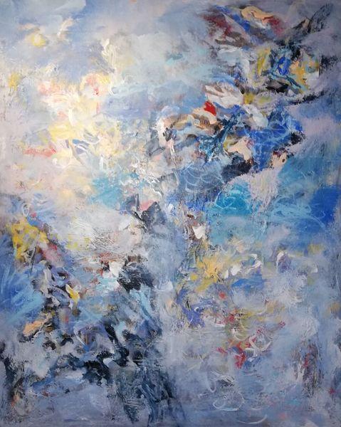 Acrylmalerei, Komposition, Blau, Malerei