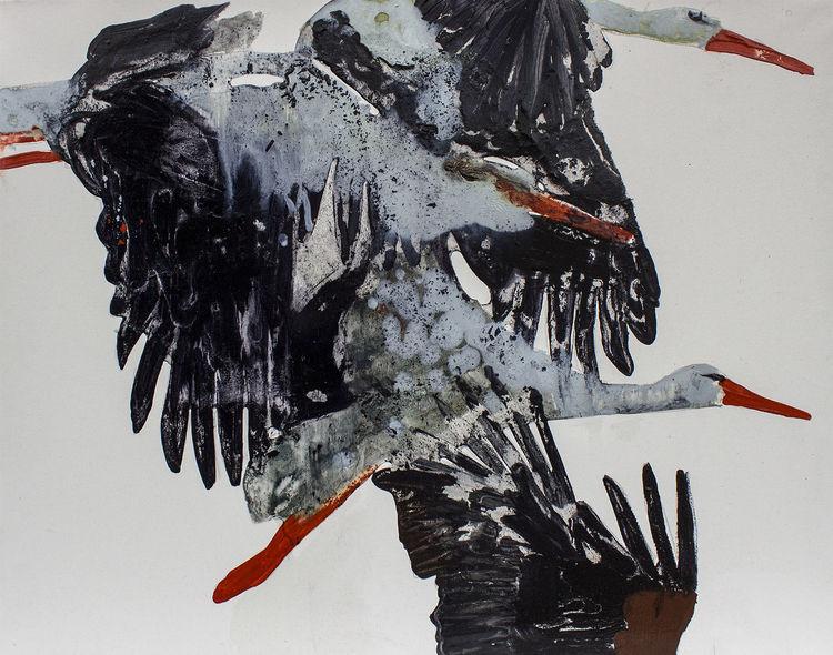 Storch, Malerei,