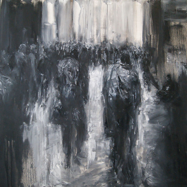 Figural, Malerei, Stadt, Straße, Menschen, Gang