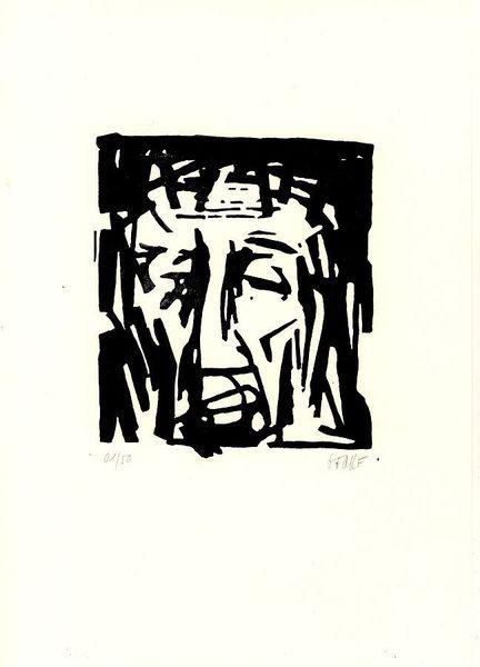 Jesus christus, Jesus mit dornenkrone, Ecce homo, Passion, Linolschnitt, Druckgrafik