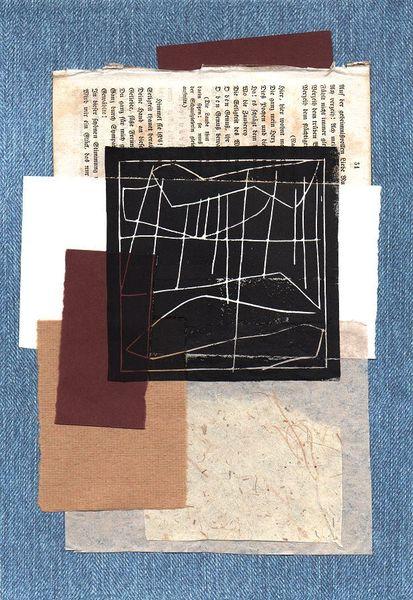 Collage, Gewitter, Linolschnitt, Meer, Nordsee, Druckgrafik
