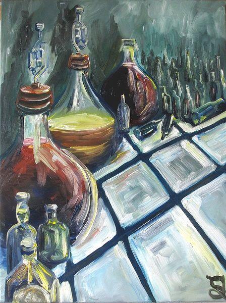 Altersvorsorge, Wein, Weinballons, Flasche, Malerei