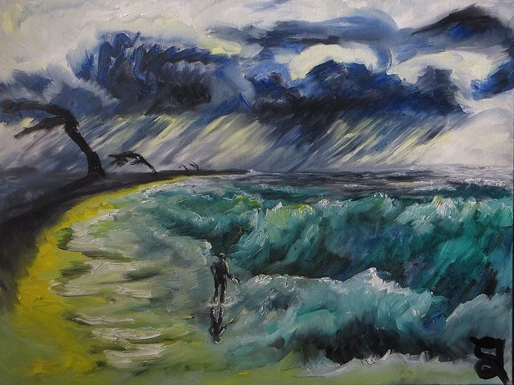 Wind, Mann, Strand, Meer, Regen, Malerei