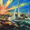 Überführung, Meer, Boot, Segelboot
