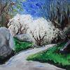 Busch, Weißdorn, Weiß, Malerei
