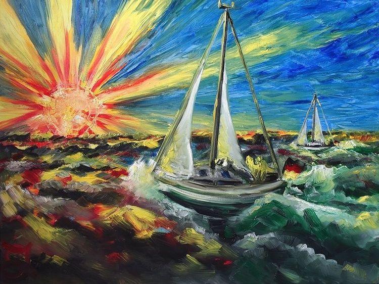 Überführung, Meer, Boot, Segelboot, Segel, Malerei