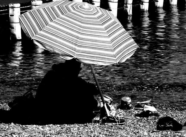 Paar, Sonnenschirm, Meer, Steg, Strand, Fotografie