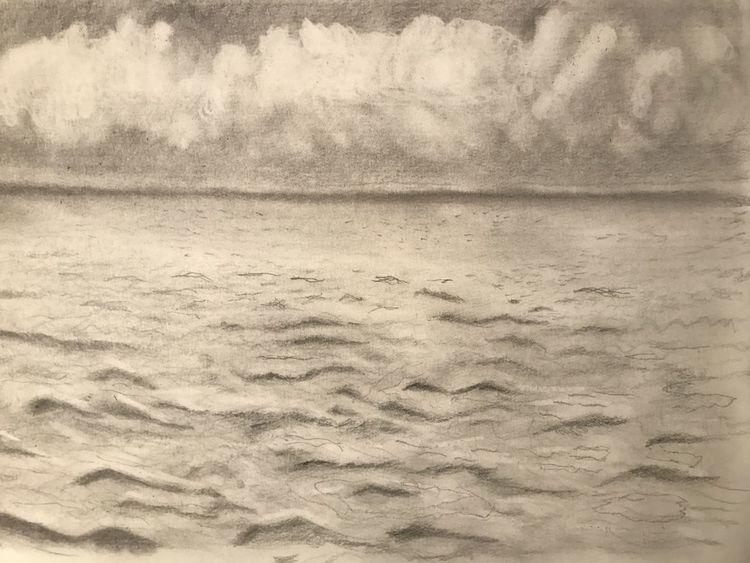 Wasser, Zeichnung, Bleistiftzeichnung, Wolken, Zeichnungen, Meer