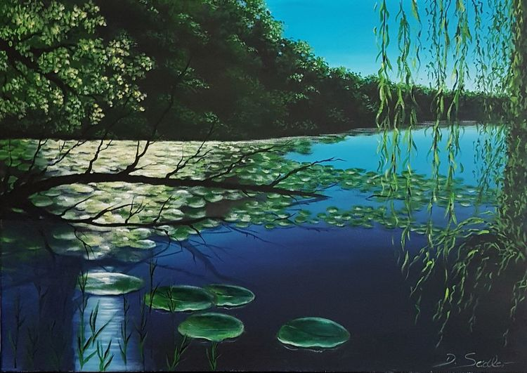 Teich, Abendlicht, Abendstimmung, See, Malerei