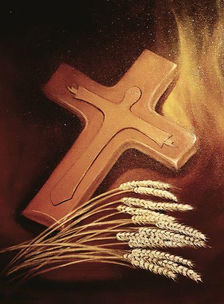 Jesus, Weizen, Glaube, Kreuz, Malerei