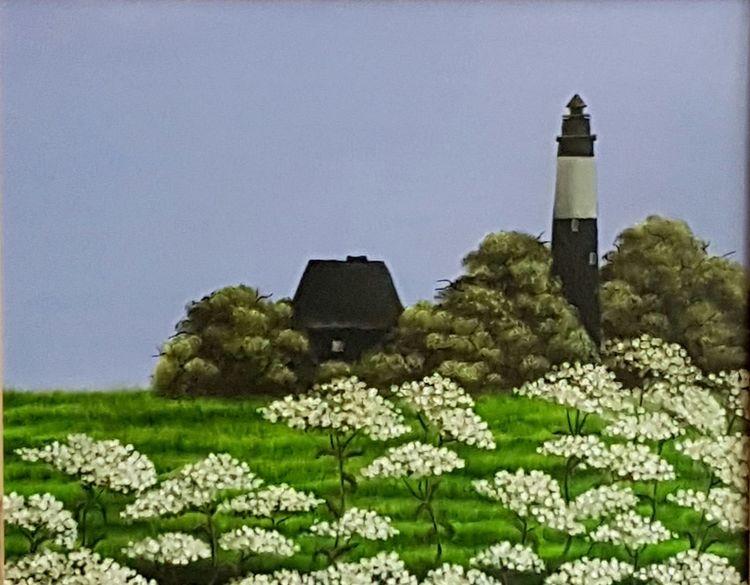 Leuchtturm, Wiese, Malerei