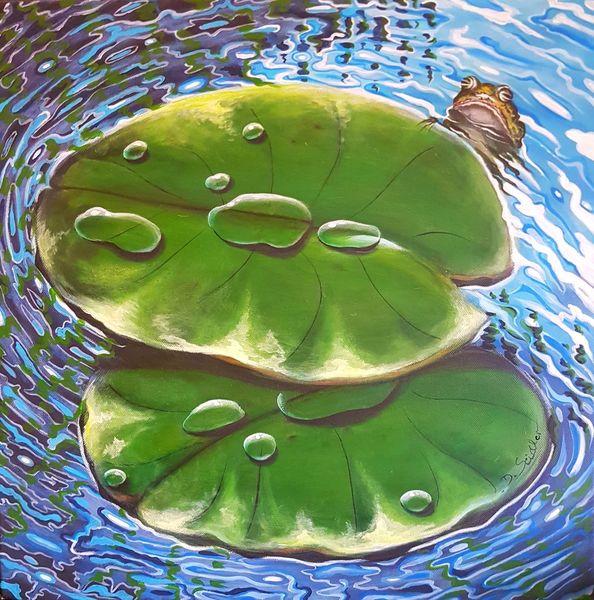 Wasser, Wasserspiegelung, Seerosenblätter, Tropfen, Frosch, Malerei