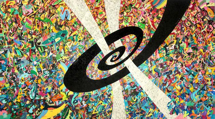 Gemälde, Schwarz, Abstrakt, Zeit, Bunt, Spirale