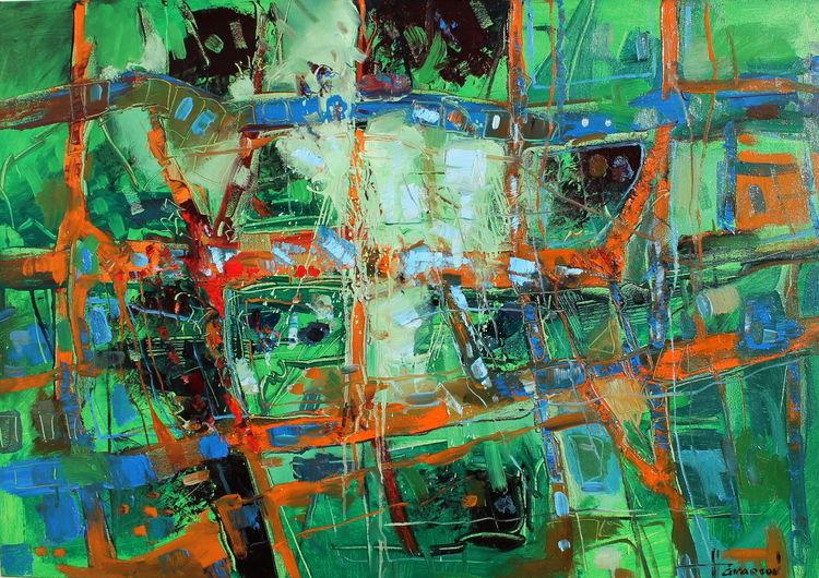 Abstrakt, Theater, Grün, Orange, Interior design, Malerei