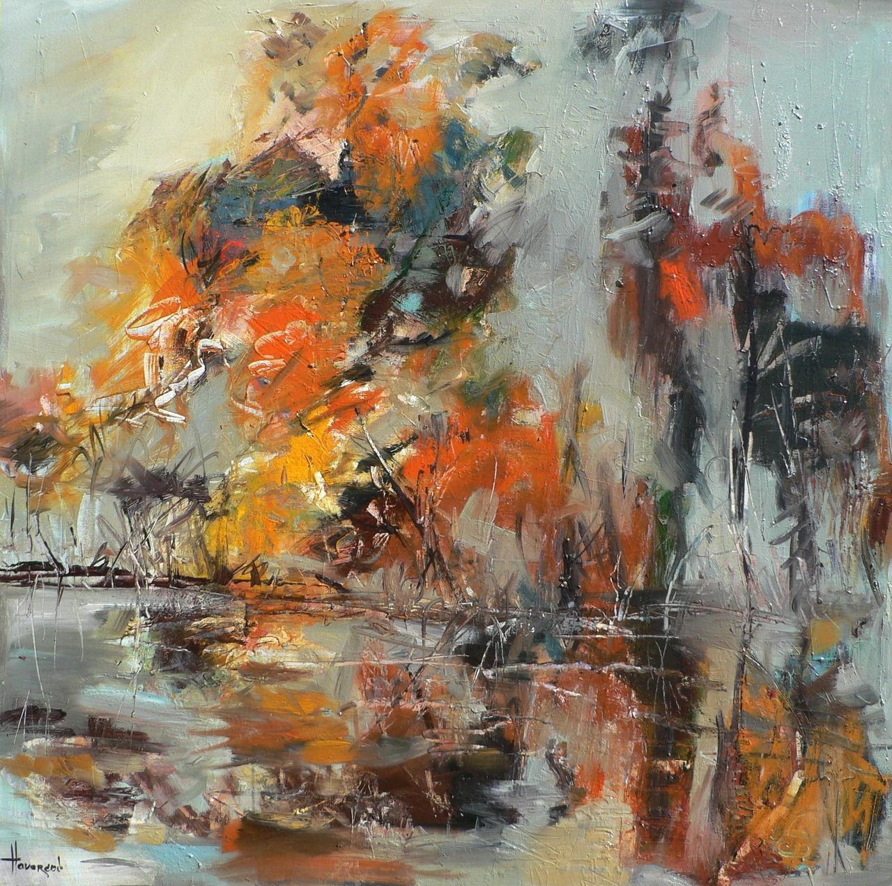 Herbst Im Dorf Olmalerei Abstrakt Herbst Gemalde Von Henadzy Havartsou Bei Kunstnet