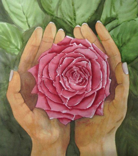 Aquarellmalerei, Rot, Blumen, Aquarell, Rose