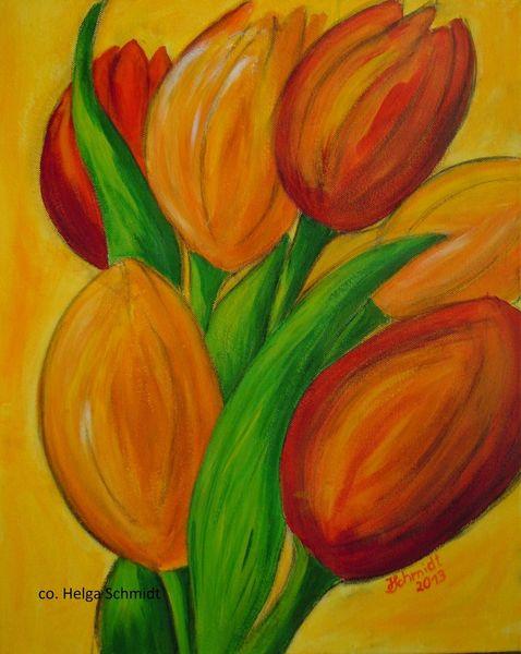 Blumen, Gelb, Acrylmalerei, Rot, Malerei, Tulpen