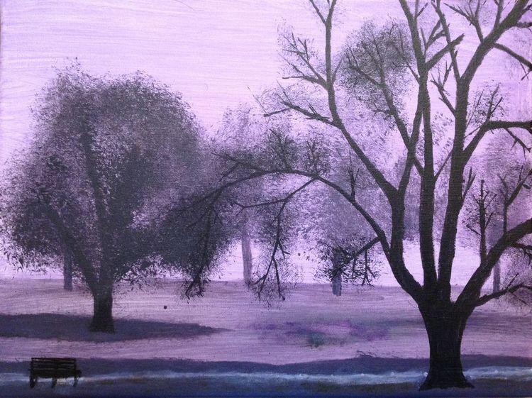 Nebel, Malerei, Park, Acrylmalerei, Baum, Landschaft