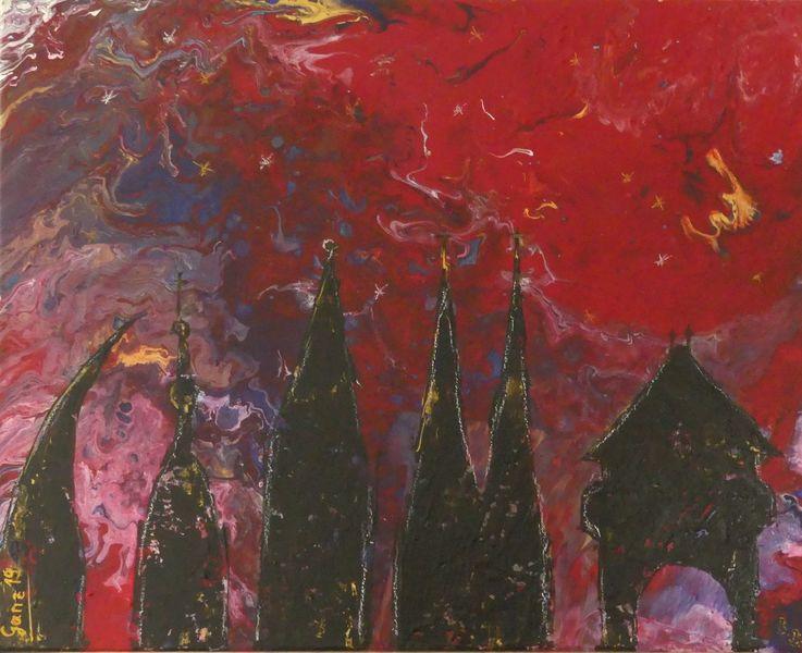 Weihnachten, Silhouette, Gold, Abstrakt, Rot, Schwarz