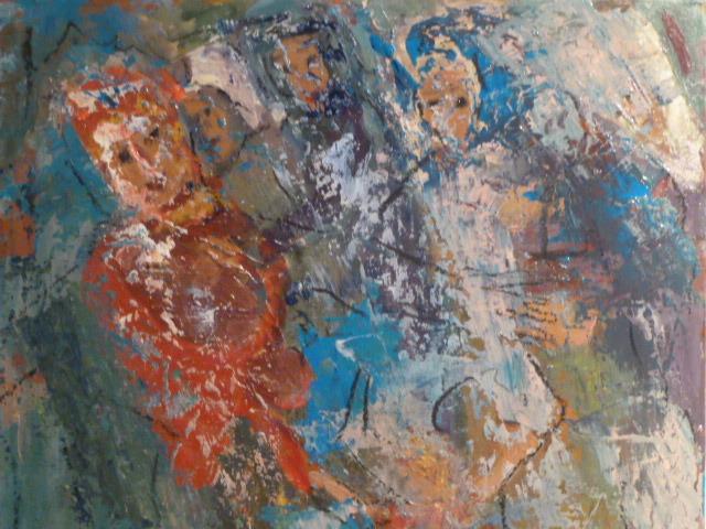 Frau, Wind, Rot, Malerei, Sturm