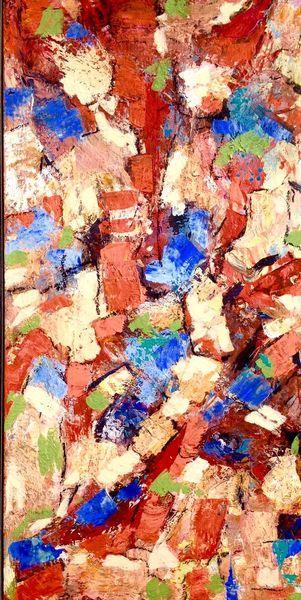 Beige, Orange, Blau, Malerei